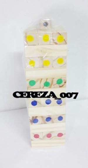 Jenga Yenga Madera de colores De 36 Fichas + Dado