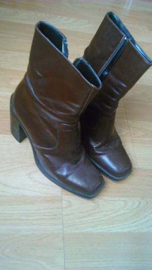 botas de cuero comodisimas marron con taco y cierre
