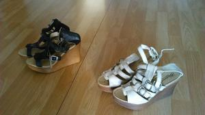 sandalias con plataforma negras y beige 170$ c/u