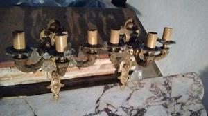 Apliques de pared de bronce con caireles antiguos- 3 brazos