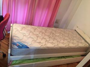 Cama 1 plaza + colchón nuevo + carro