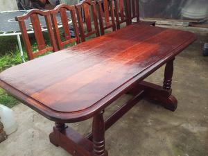 juego de comedor de algarrobo mesa y 6 sillas