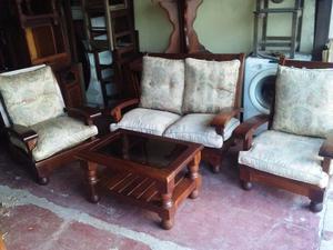 juego de living sillones de algarrobo sillones y mesa