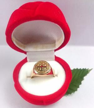 Anillo Sello San Benito Oro 18k Certificado Garantia