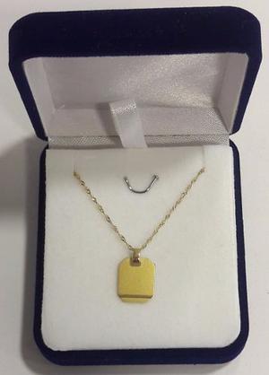 Conjunto Medalla Para Grabar Y Cadena De Oro 18 K