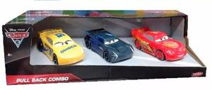 Set X 3 Autos Personajes Cars 3 Pull Back 13cm Disney Smile