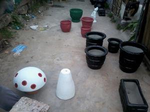 macetas de cemento y moldes