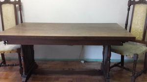 mesa en madera maciza con 2 sillas