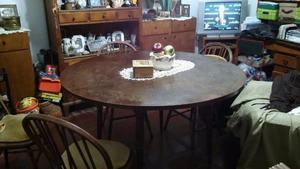Juego de COMEDOR con 6 sillas, madera maciza.-