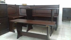 Banco esquinero con mesa y sillas en pino posot class for Esquinero mesa banco