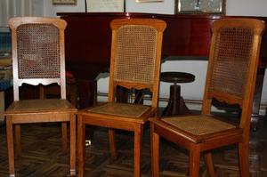 3 sillas en roble y esterilla