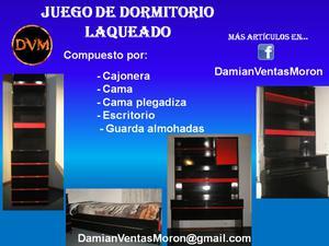 Juego de dormitorio laqueado (negro y rojo) - 5 piezas