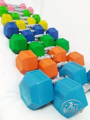 Mancuernas Pesas Fijas Engomadas Hexagonales X Kg Colores