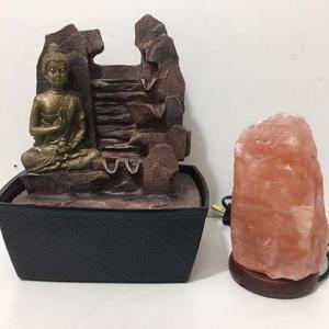 Fuente De Agua Con Buda + Lampara De Sal De Regalo Feng Shui