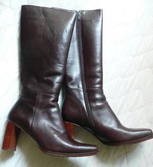 botas marrones mujer caña alta de cuero.