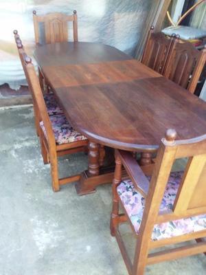 juego de comedor de algarrobo mesa extensible y sillas