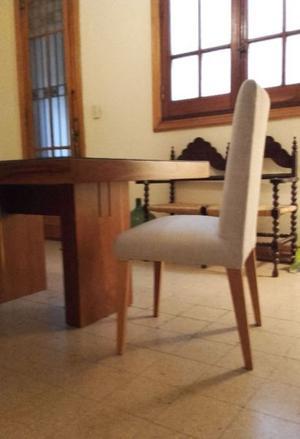 Mesa de madera + 6 sillas tapizadas
