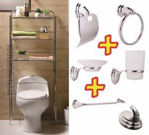 Mueble Sobre Inodoro + Accesorios Baño 7 Piezas Juego Set F