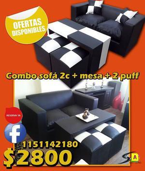 !! OFERTAS DISPONIBLES!! Sofá para 2 cuerpos, mesa, 2