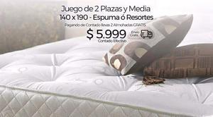 Sommier Espuma ó Resorte 2 Plazas y Media