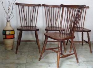 4 sillas windsor antiguas madera maciza roble Eslavonia
