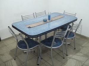 Comedor de caño reforzado 6 sillas !! Flete sin cargo !!