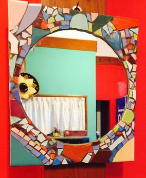 Espejos decorado con cerámica