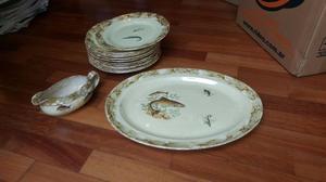 Juego 12 platos, fuente y salsera porcelana Hartford