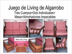 Juego de living Completo de Algarrobo Macizo 3 cuerpos+2