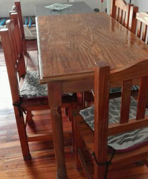 Juego de mesa de madera maciza y 5 sillas estilo campo