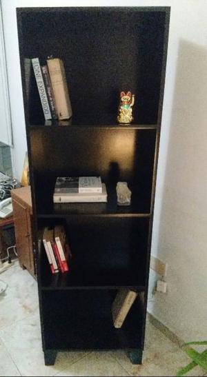 Mueble Modular Biblioteca negra laqueada 4 estantes moderna