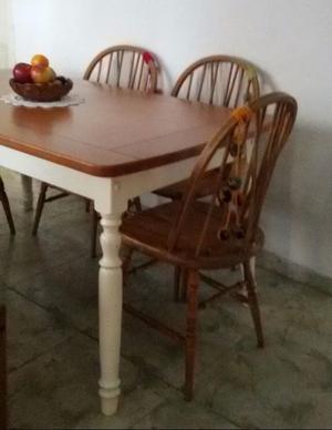 mesa comedor madera abedul torneada 1.60 x 0.90 windsor