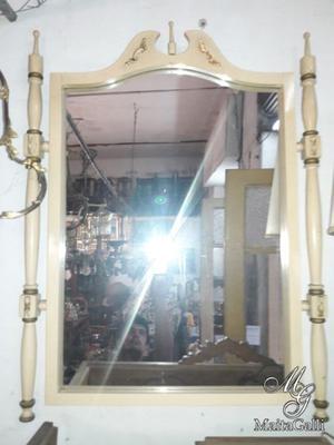Antiguo Espejo Colonial Inglés En Color Hueso. Cód.: #