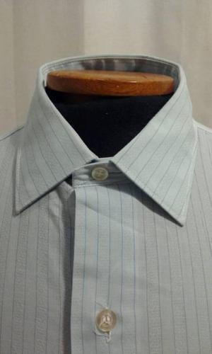 Camisa de hombre - Celeste con finas rayas azules - Talle 42