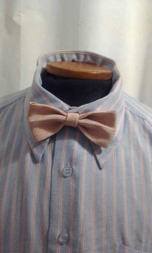 Camisa de vestir de hombre - Manga corta - Celeste con rayas