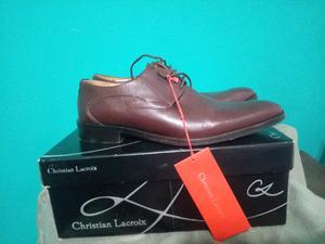 Zapatos Cuero Marrón oscuro, talle 41