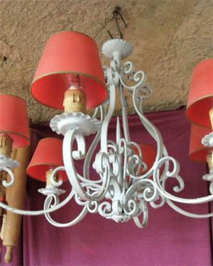 araña de hierro de seis luces patinado celeste