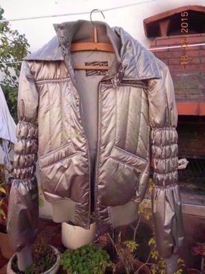 Campera De Abrigo De Mujer Tabatha Gris Metalizada Talle M