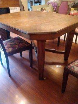 Juego de comedor, mesa hexagonal extensible y 6 sillas