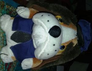 Perro de peluche bull dog con ropa azul - 23 cm