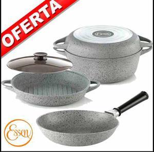 Set Basico 28cm+tapa Vidrio+sarten Chef 24cm Essen 40% Off