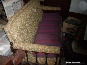 antiguo sillon de tres cuerpos tapizado gobelino