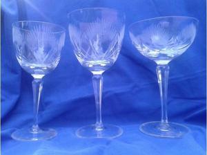 copas cristal tallado sidra, agua, licor, (3copas $600)