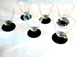 6 Copas Bajas Licor Talladas Facetadas Bicolor - Recoleta