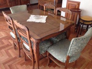 Juego de comedor mesa provenzal y 6 sillas posot class - Sillas provenzal tapizadas ...