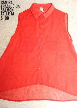 Camisa Traslucida Salmon (Talle M)