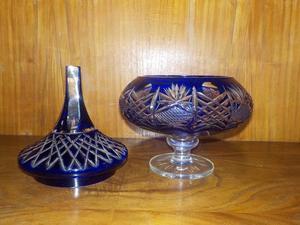 Caramelera De Cristal Antiguo Tallado (AZUL)
