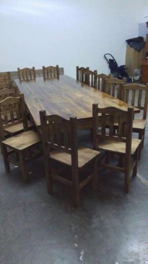 mesa estilo campo 3.00x1.20 con 14 sillas