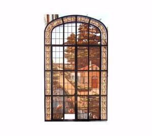 Antigua ventana mampara vitreaux de hierro forjado y arco