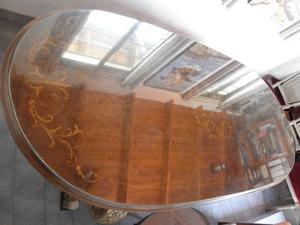 Juego de Mesa oval + vidrio de 5 mm + 6 sillas Estilo Luis